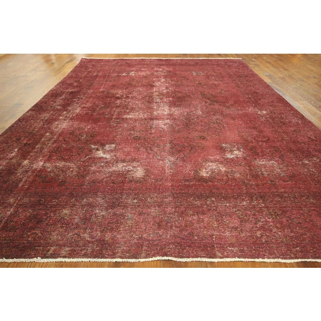 Persian Overdyed Rose Red Tabriz Rug 10' x 13' - Image 3 of 8