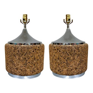 Pair of Mid-Century Modern Cork & Chrome Lamps For Sale