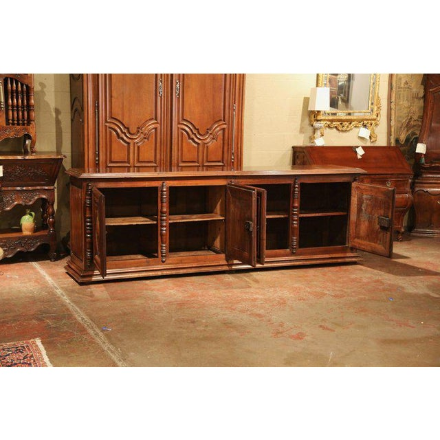 Early 19th Century French Louis XIII Carved Walnut Four-Door Enfilade Buffet For Sale - Image 11 of 13