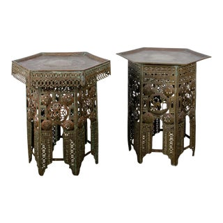 Moroccan Pierced Brass Side Tables - a Pair For Sale