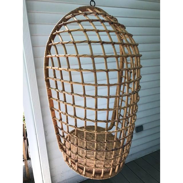 Vintage Hanging Rattan Egg Chair - Image 4 of 7