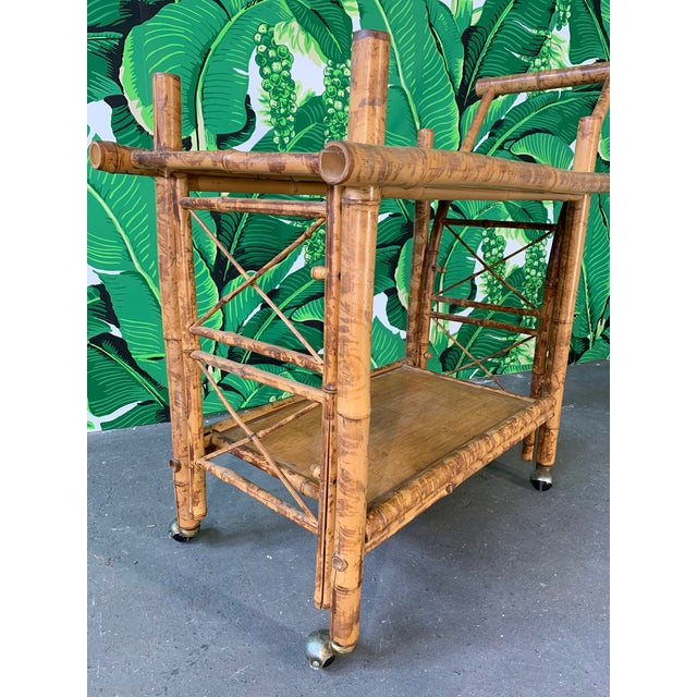 Collapsible Tiger Bamboo Bar Cart For Sale - Image 6 of 11