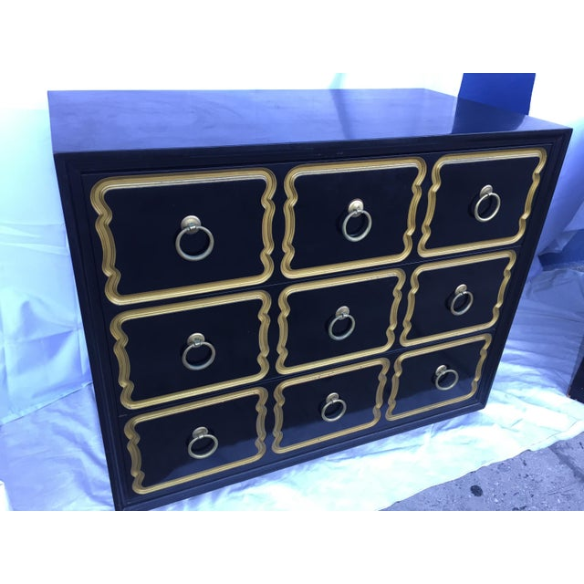 Classic 3 drawer Heritage Henredon España line chest of drawers designed by Dorothy Draper. This piece will add drama and...