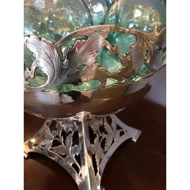 Ornamental & Decorative Materials Vintage Silver Plate Compote & Aqua Floats - Set of 11 For Sale - Image 7 of 8
