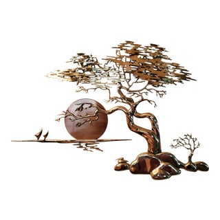 Bijan Mid-Century Bonsai Sunset Tree Metal Wall Art For Sale