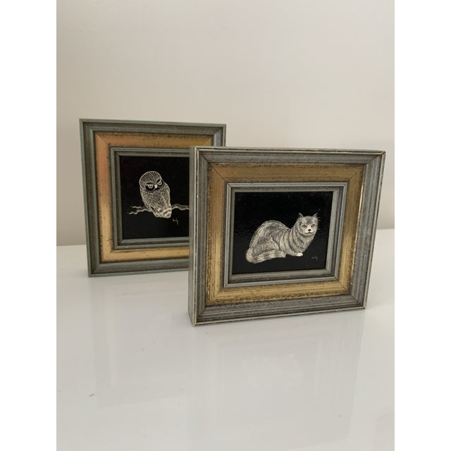 Blue Vintage Framed & Signed Scratch Art - a Pair For Sale - Image 8 of 11