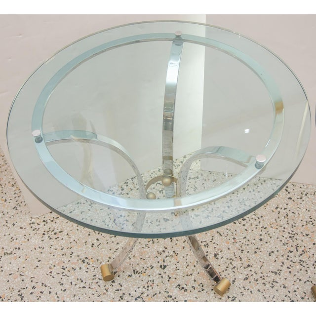 Metal Mid-Century Round Gueridon French Side Tables by Maison Jansen - a Pair For Sale - Image 7 of 10