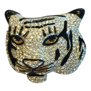 Kenneth Jay Lane White Tiger Rhinestone Black Enameling Big Cat Brooch For Sale
