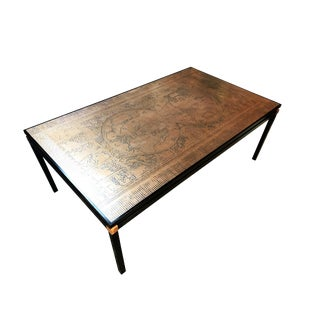 World Map Engraved Copper Coffee Table