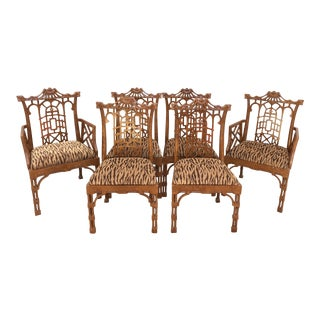 Pagoda Chinese Chippendale Style Dining Chairs With Fret Work - Set of 6