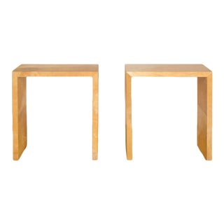 Jean-Michel Frank Style Mid-Century Modern Parchment Console Tables - a Pair For Sale