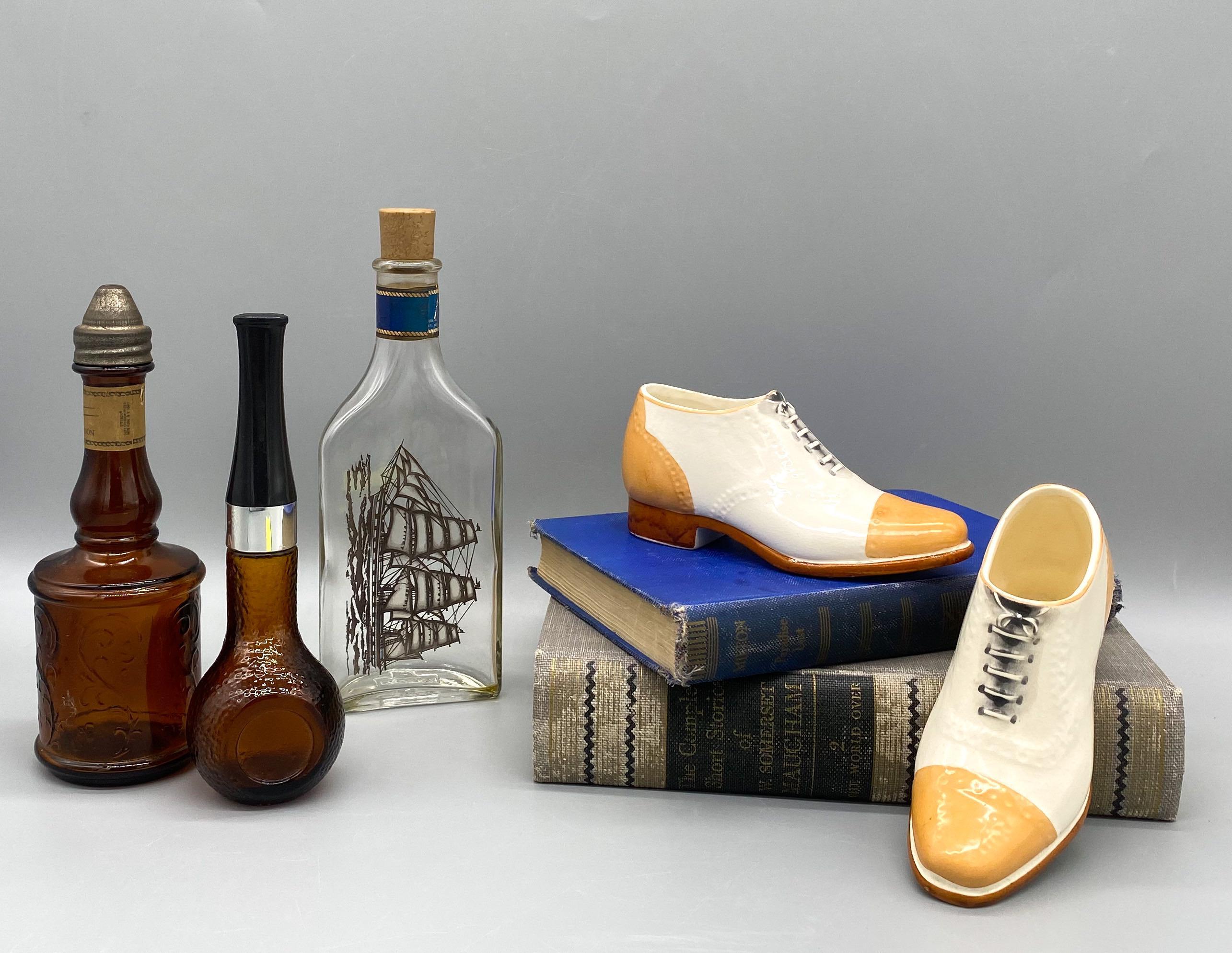 Vintage Pair of After Shave Cologne Ship Captain Figural Glass Bottles