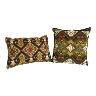 Vintage Art Nouveau Embroidered Pillows - Set of 2 For Sale