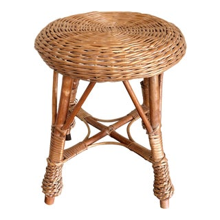Natural Wicker Rattan Stool For Sale