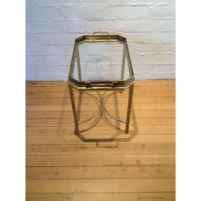 Mid-Century Modern Mastercraft Brass Tray Table For Sale - Image 3 of 6