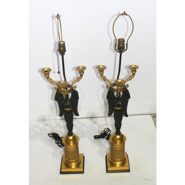 French Antique French Empire Bronze Candelabra Lamps - a Pair For Sale - Image 3 of 13