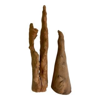 Sculptural Cypress Wood Decor Pair For Sale