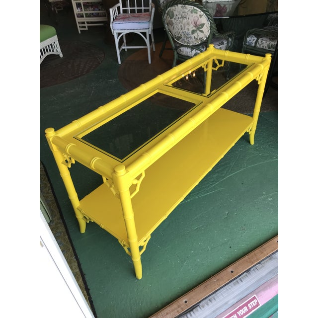 Lacquered Yellow Faux Bamboo and Fretwork Console Table For Sale - Image 12 of 13