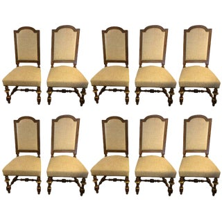 French Carved Walnut & Bronze Gilded Dining Chairs - Set of 8