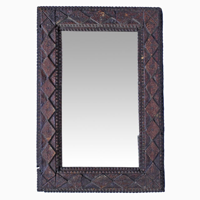 Vintage Diamond Tramp Art Mirror - Image 3 of 3
