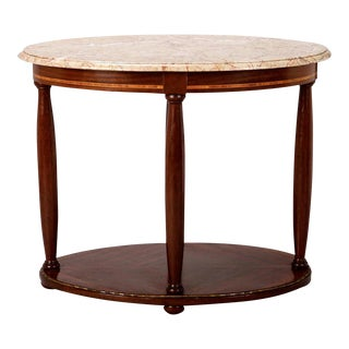 French Directoire Oval Center Table with Rouge Marble Top For Sale