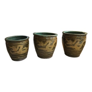 Glazed Chinese Pots - Set of 3 For Sale
