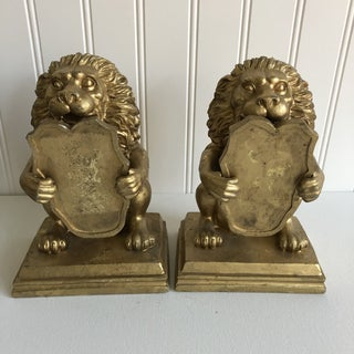 Vintage Gold of Lion Shield Bookends - a Pair Preview