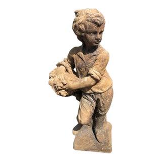 Vintage Summer Boy Stone Garden Statue For Sale