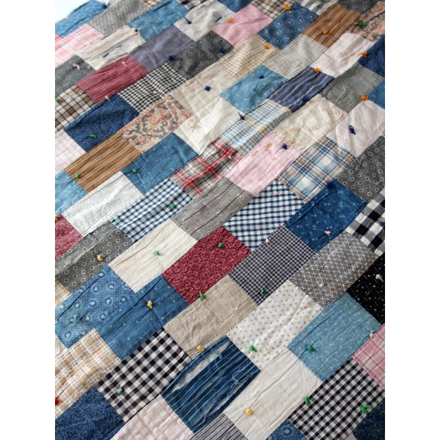 Vintage Hand-Tied Patchwork Quilt For Sale - Image 5 of 10