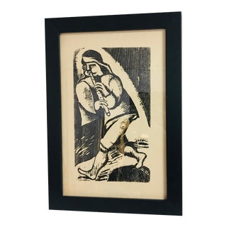 Vintage Flute Player Woodcut Print For Sale