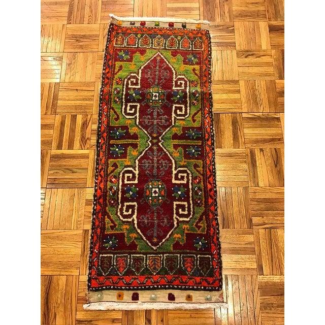 "Vintage Baho Anatolian Turkish Rug - 1'8"" X 4'2"" - Image 2 of 7"