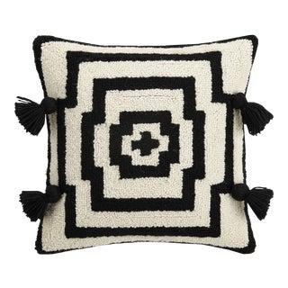 """Hypnotic Black Pom Pom Hook Pillow, 16"""" x 16"""" For Sale"""