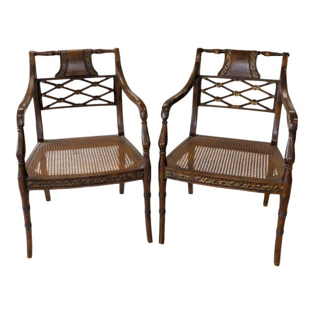 John Richard Traditional Cane Seat Regency Armchairs- a Pair For Sale