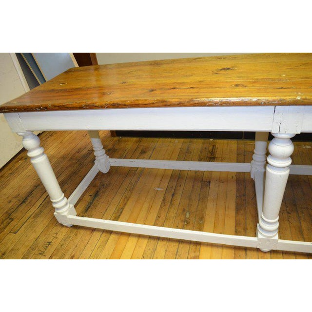 Brown Kitchen Island Restaurant Prep From Rectory Table 100 Years Old. Ships Free. For Sale - Image 8 of 11