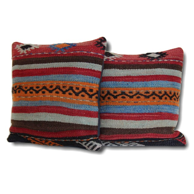 1970s Turkish Kilim Rug Pillows - a Pair For Sale - Image 5 of 5