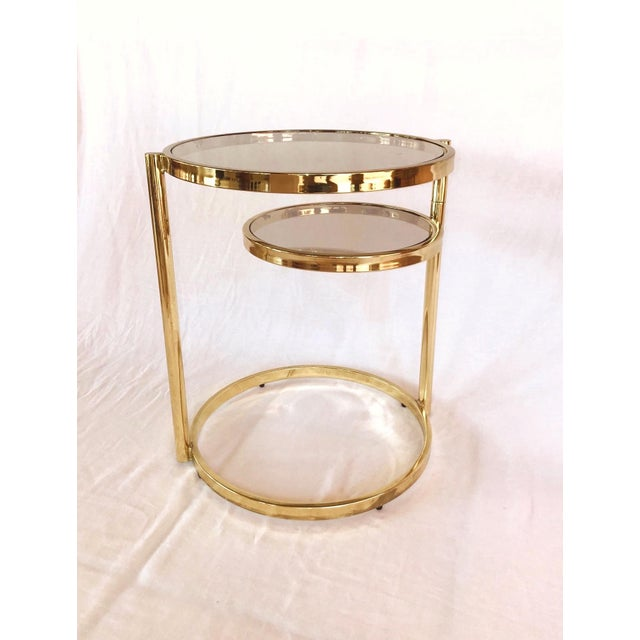 Metal Hollywood Regency Brass and Smoked Glass Swivel Side Table by Dia, 1970's For Sale - Image 7 of 13