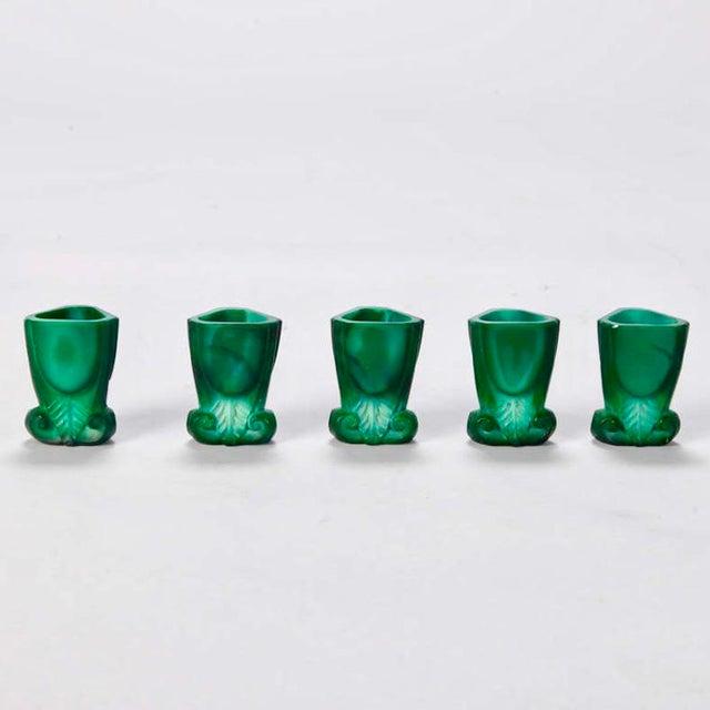 Art Deco Boho Malachite Glass Decanter Set of 6 - Image 9 of 9