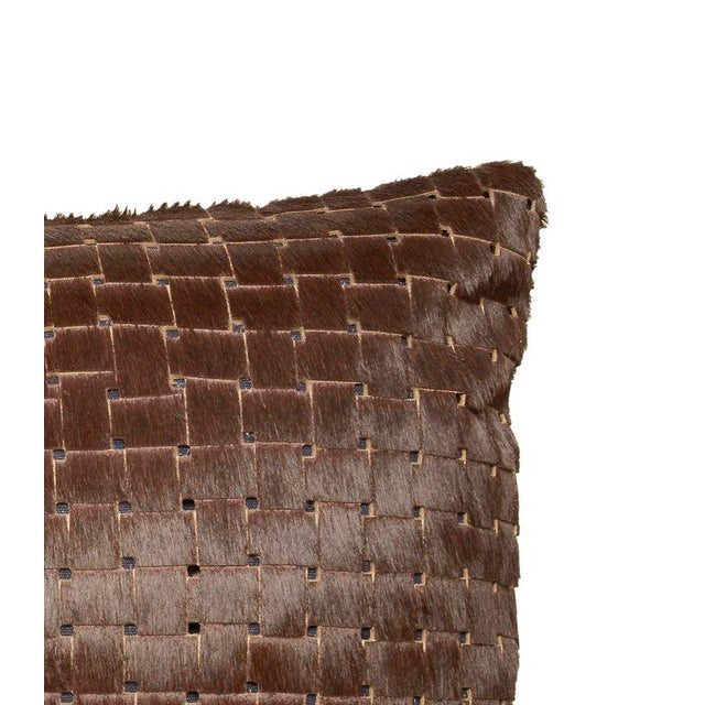 Contemporary Contemporary Chocolate Brown Laser Cowhide Pillow For Sale - Image 3 of 6