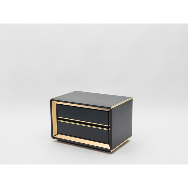 Metal Italian Sandro Petti Black Lacquered Brass Mirrored Nightstands Tables, 1970s For Sale - Image 7 of 13