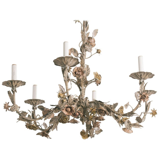 1960s Italian Tole Floral Chandelier For Sale - Image 9 of 9