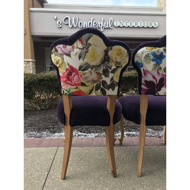19th Century Antique Bohemian Tufted Rococo Dining Side Chairs Cabriole Legs - Set of 6 Mohair With Designers Guild Floral Print For Sale - Image 11 of 13