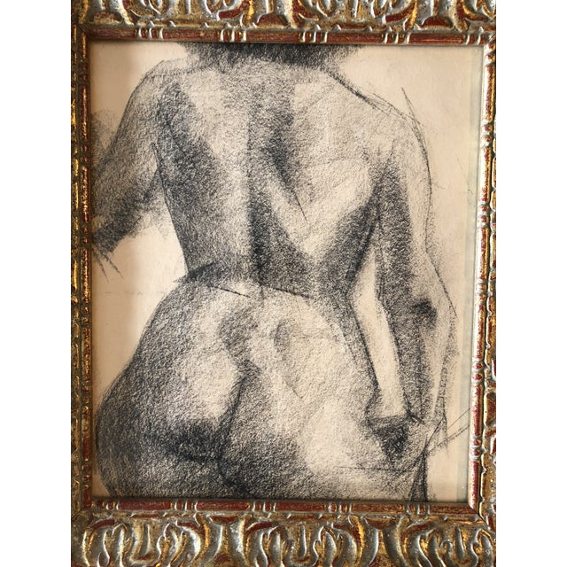 Original Charcoal Drawing 9 x 11 Unsigned in beautiful vintage frame Overall size is 11.5 x 13.5