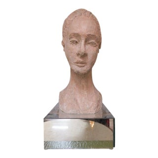 1970s Vintage Mid Century Modern Woman Plaster Bust For Sale