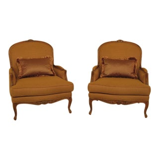 Ethan Allen French Upholstered Bergere Chairs - a Pair