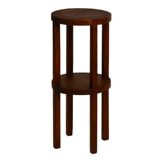 Slender American Arts & Crafts Oak Sellette Side Table For Sale