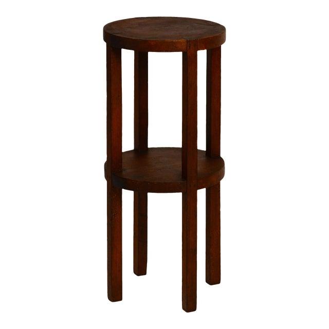 Slender American Arts & Crafts Oak Sellette Side Table For Sale