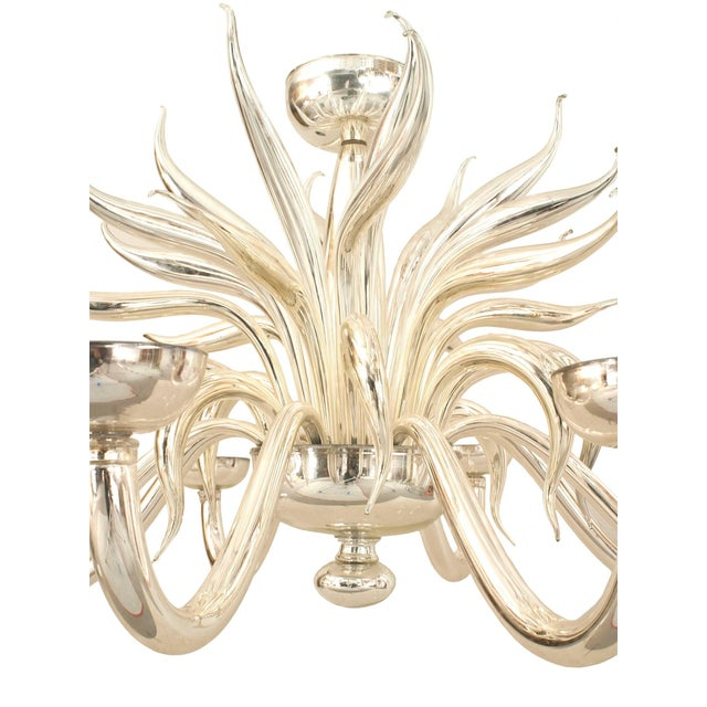 Post-War design Italian Venetian Murano (modern) silvered glass chandelier with multiple scroll eight arms and multiple...