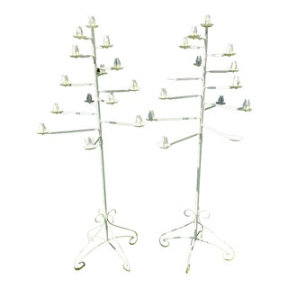 French Altar Wrought Iron Candle Holder Candelabra - a Pair