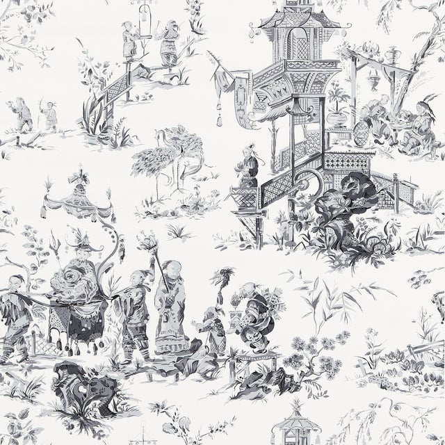 Sample - Schumacher Chinois Wallpaper in Smoke For Sale