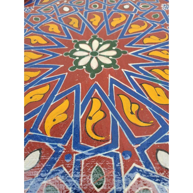 Islamic Moroccan Sm Ceuta 1 Painted and Carved Star Table, Multi-Color For Sale - Image 3 of 8